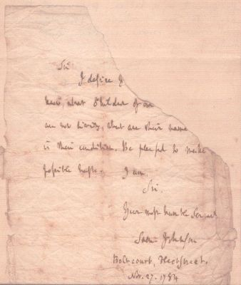 Letter from Samuel Johnson